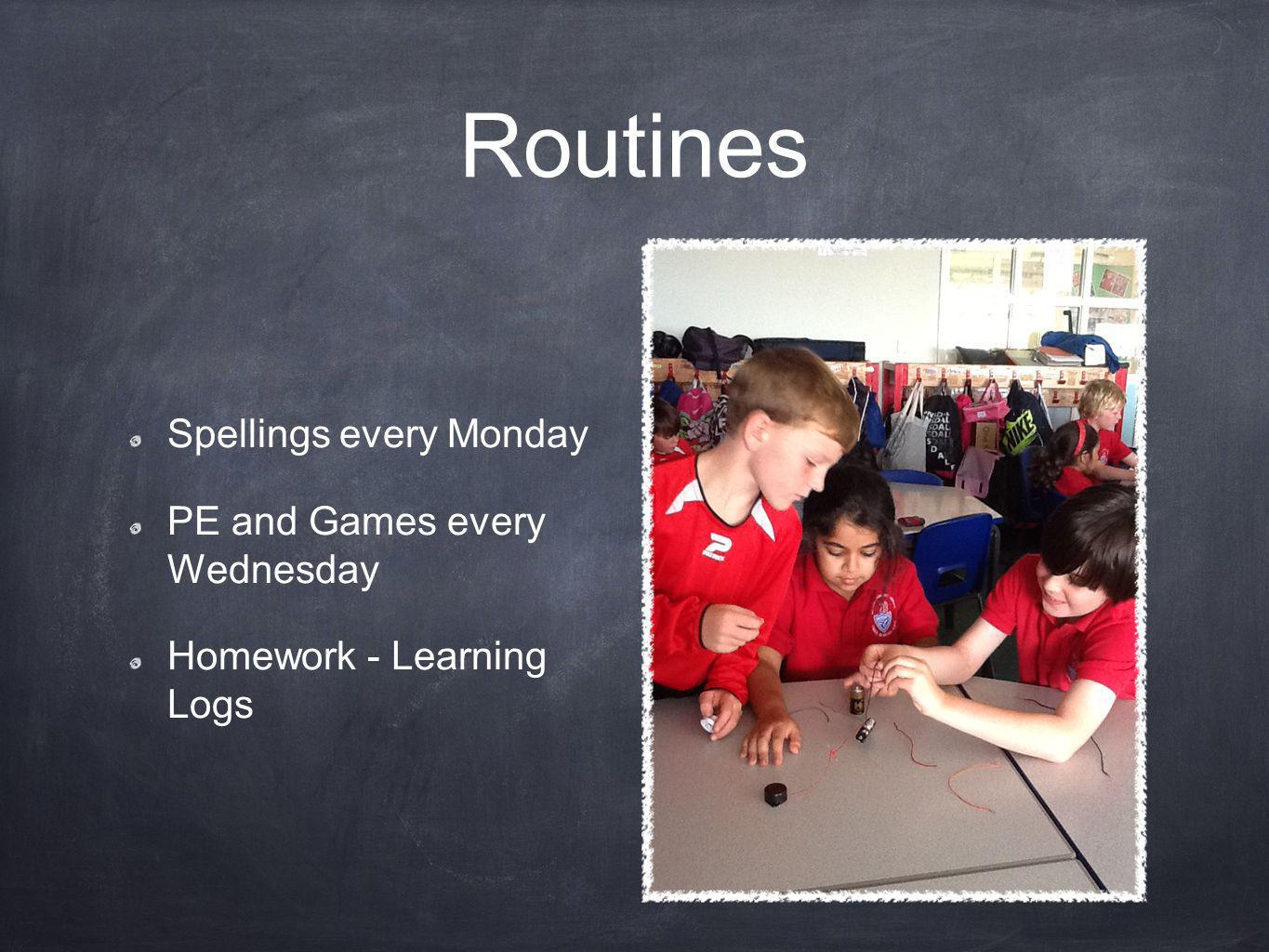 Routines Spellings every Monday PE and Games every Wednesday Homework - Learning Logs