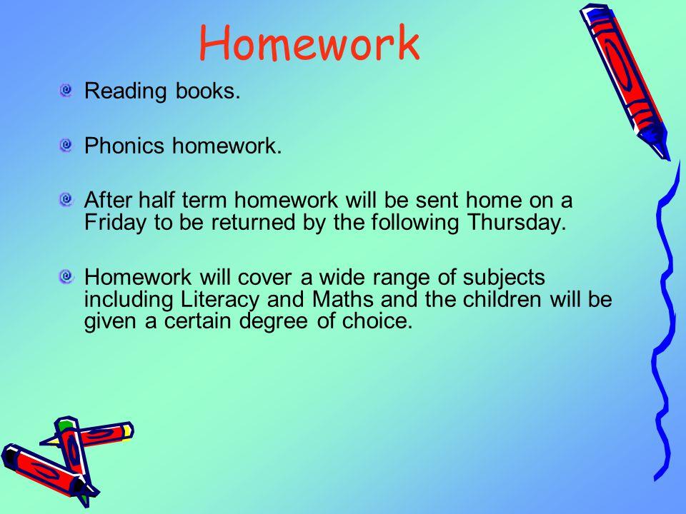 Homework Reading books.Phonics homework.
