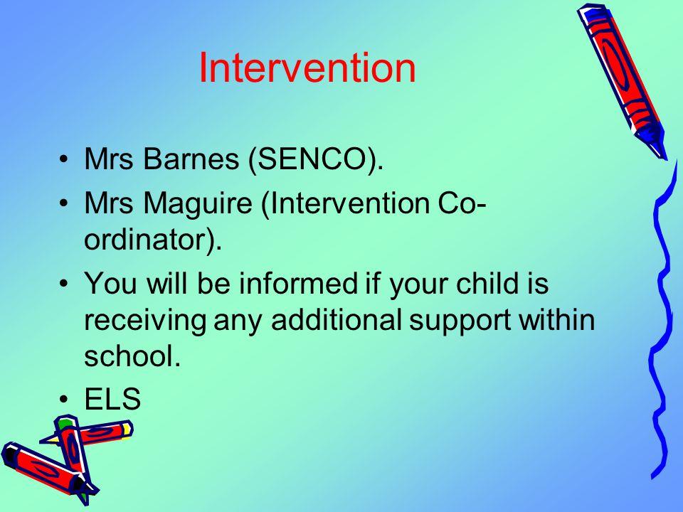 Intervention Mrs Barnes (SENCO).Mrs Maguire (Intervention Co- ordinator).