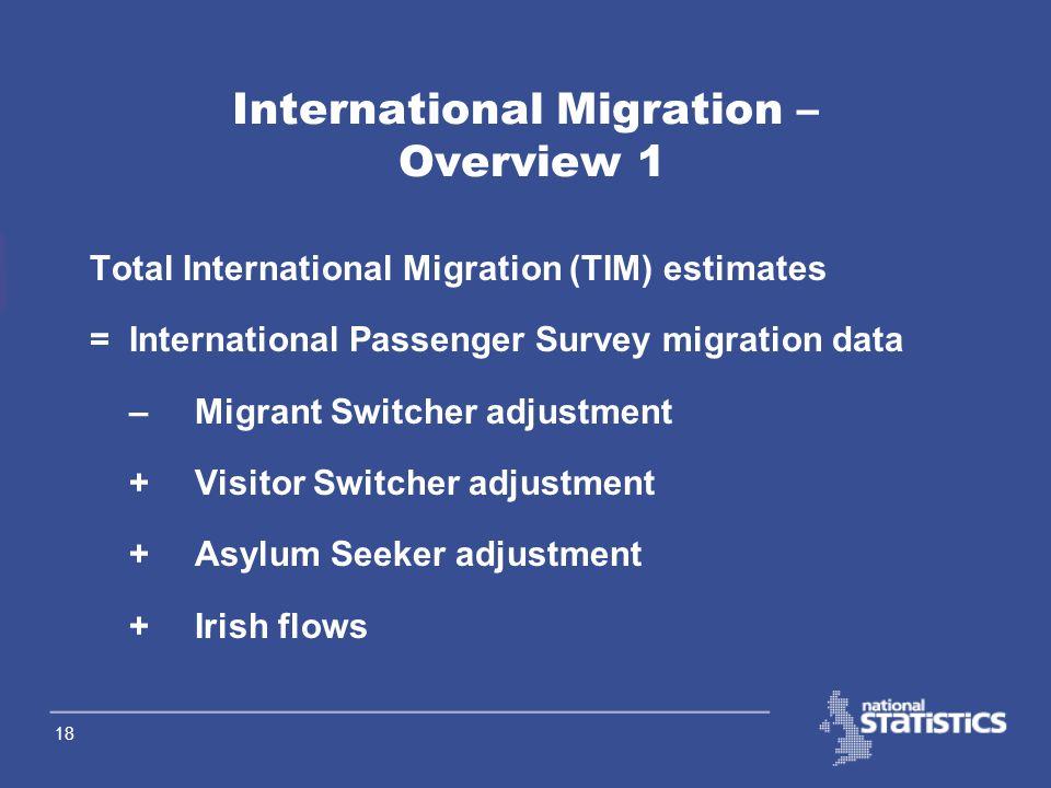 17 International Migration Definitions International Migration Civilian migration between the UK and the rest of the world International Migrant A per