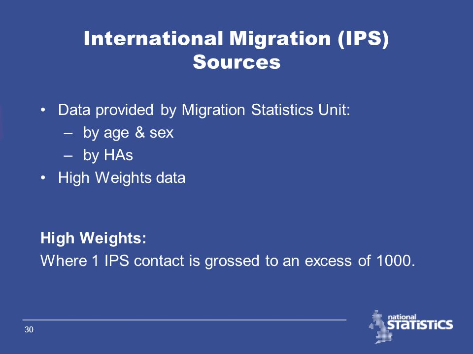29 Migrant data Visitor data IPS - Length of Stay Question