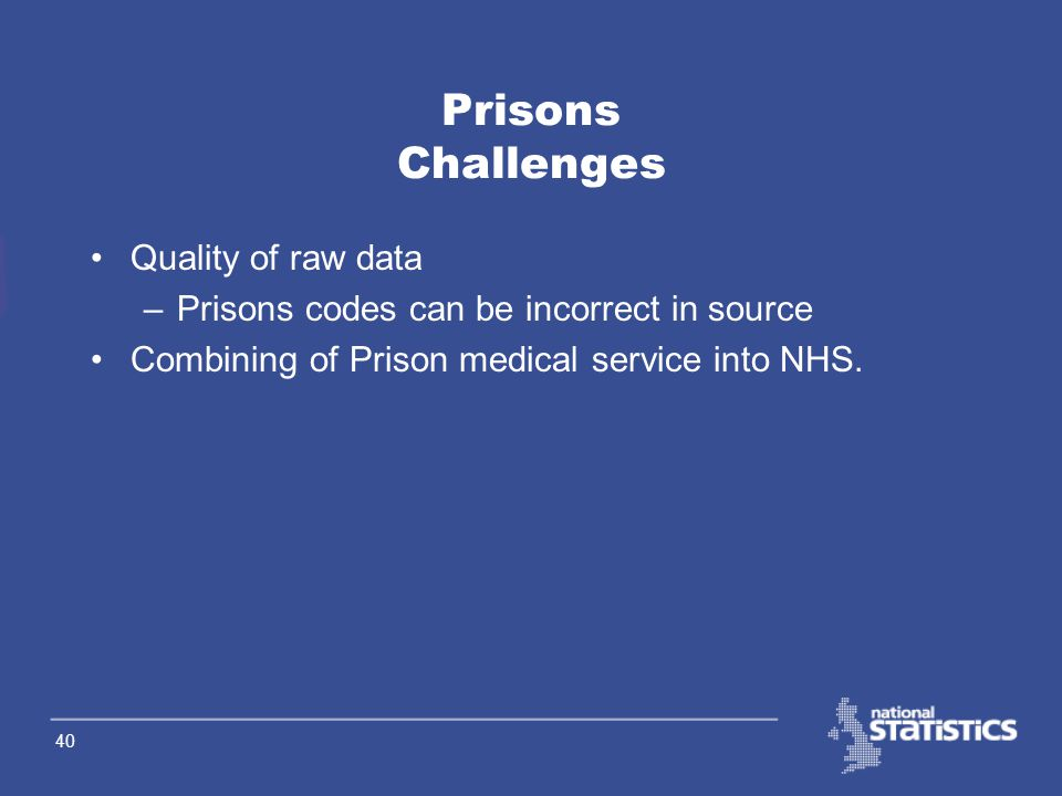 39 Prisons Methodology Compare previous year figures with current year to derive annual change figure. Add annual change to population base. Prisons a