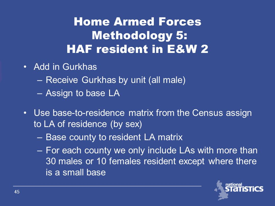 44 Home Armed Forces Methodology 4: HAF resident in E&W 1 Receive HAF by sex by base LA –take average of Oct, Jan, Apr & July figures Re-distribute Whitehall Warriors (These are armed forces personnel based in London doing desk jobs) –Remove a percentage (based on 1998 data) from Westminister –Re-distribute across London using Census data