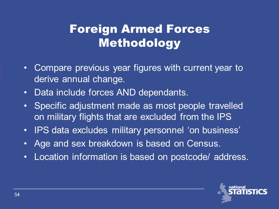 53 Home Armed Forces Challenges 2 Use of base-to-residence matrix –County to LA or LA to LA Use of 1998 scaling factors/ proportions in service families abroad Assumption that wives have the same age distribution as their husbands Currently, UKAF from E&W and Service families overseas components only included at national level