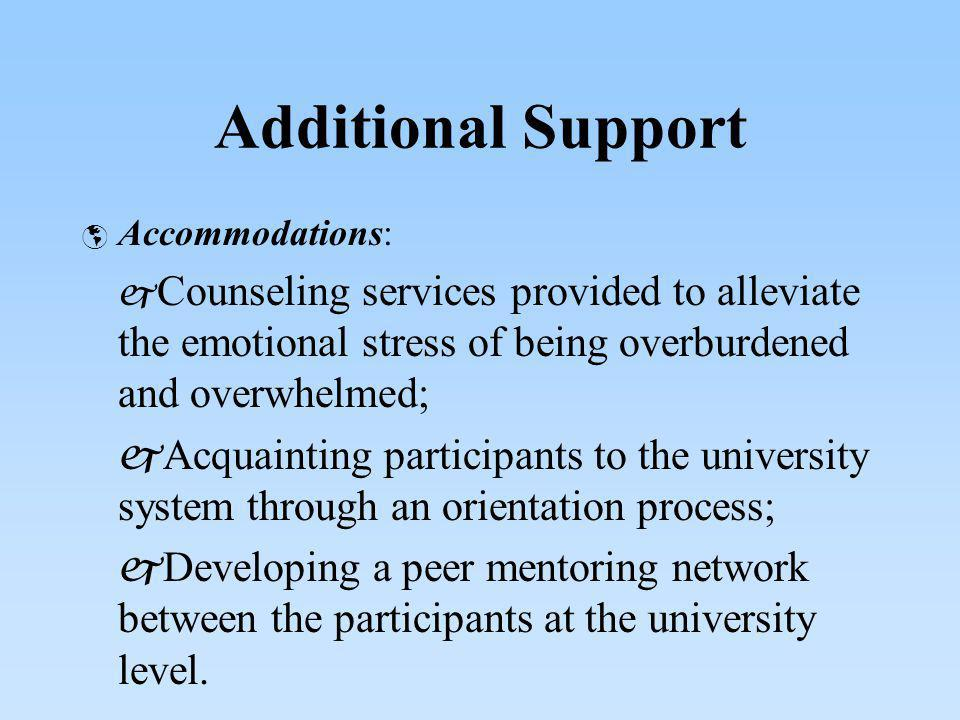 Additional Support Accommodations: Counseling services provided to alleviate the emotional stress of being overburdened and overwhelmed; Acquainting p
