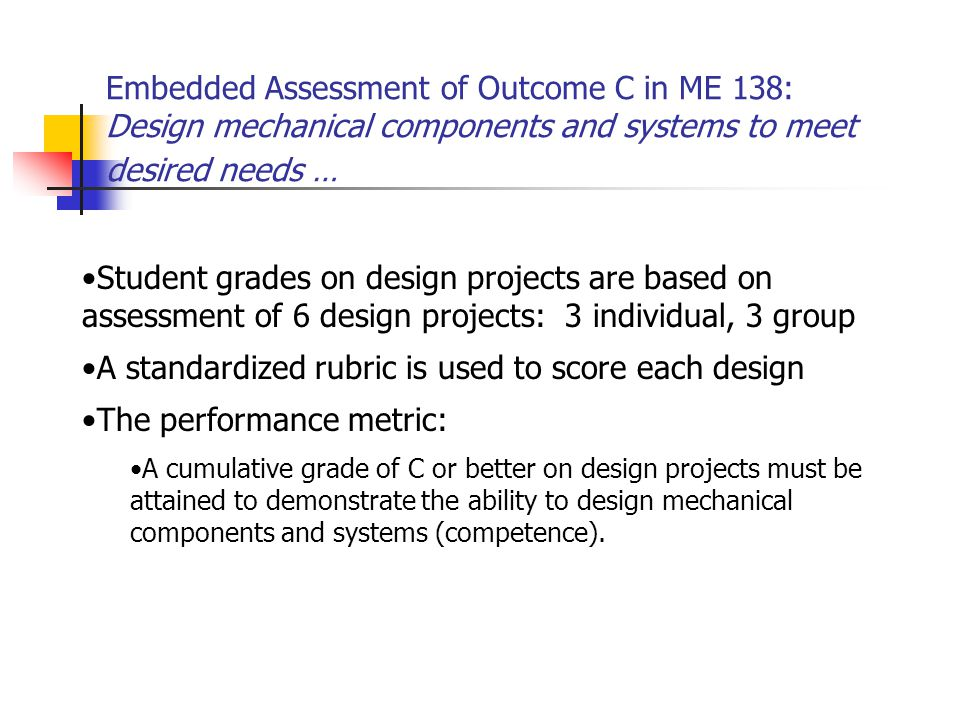 Embedded Assessment of Outcome C in ME 138: Design mechanical components and systems to meet desired needs … Student grades on design projects are based on assessment of 6 design projects: 3 individual, 3 group A standardized rubric is used to score each design The performance metric: A cumulative grade of C or better on design projects must be attained to demonstrate the ability to design mechanical components and systems (competence).