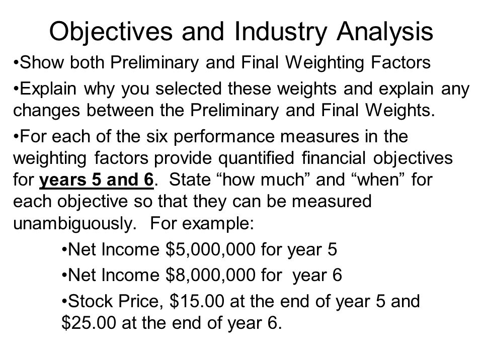 Objectives and Industry Analysis Show both Preliminary and Final Weighting Factors Explain why you selected these weights and explain any changes betw