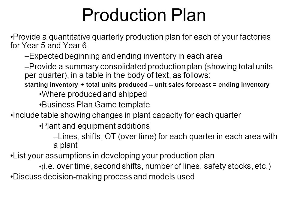 Production Plan Provide a quantitative quarterly production plan for each of your factories for Year 5 and Year 6. –Expected beginning and ending inve