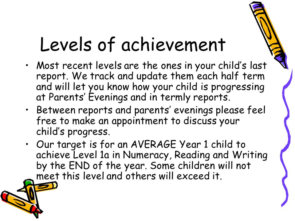 Levels of achievement Most recent levels are the ones in your childs last report.
