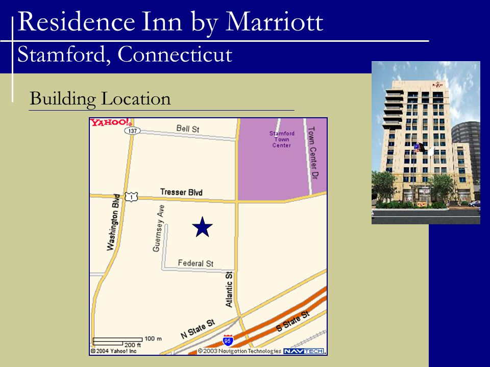 Residence Inn by Marriott Stamford, Connecticut Building Site and Use Building Site Structure replaces a small one story commercial building and is built on the former site of a YMCA.
