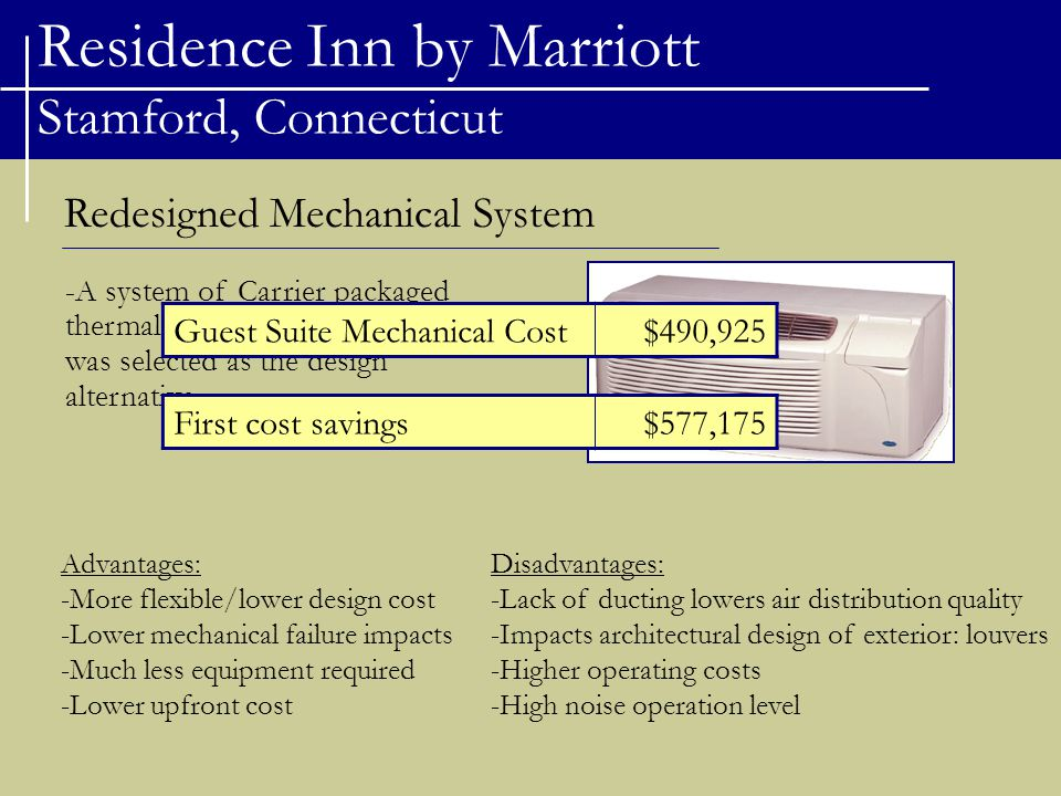 Residence Inn by Marriott Stamford, Connecticut Redesigned Mechanical System -A system of Carrier packaged thermal air conditioners (PTACs) was selected as the design alternative.