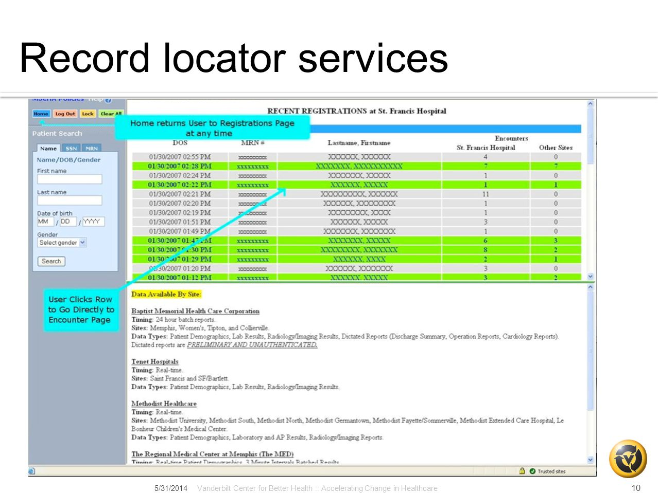 Record locator services 5/31/2014Vanderbilt Center for Better Health :: Accelerating Change in Healthcare 10