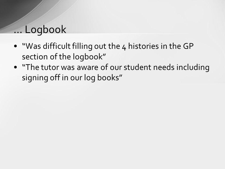 Was difficult filling out the 4 histories in the GP section of the logbook The tutor was aware of our student needs including signing off in our log b