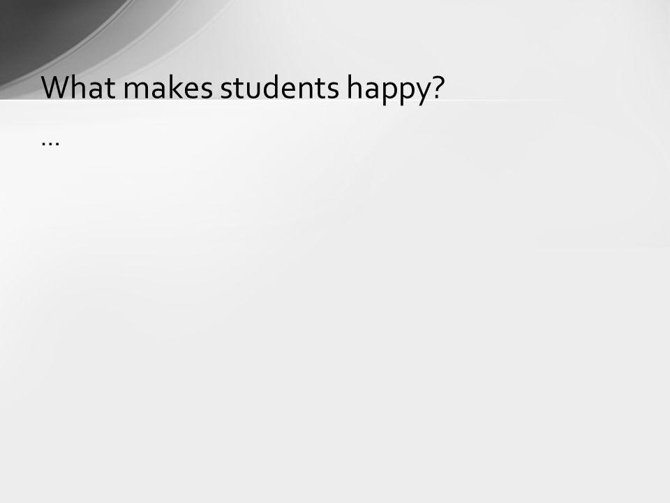 … What makes students happy?