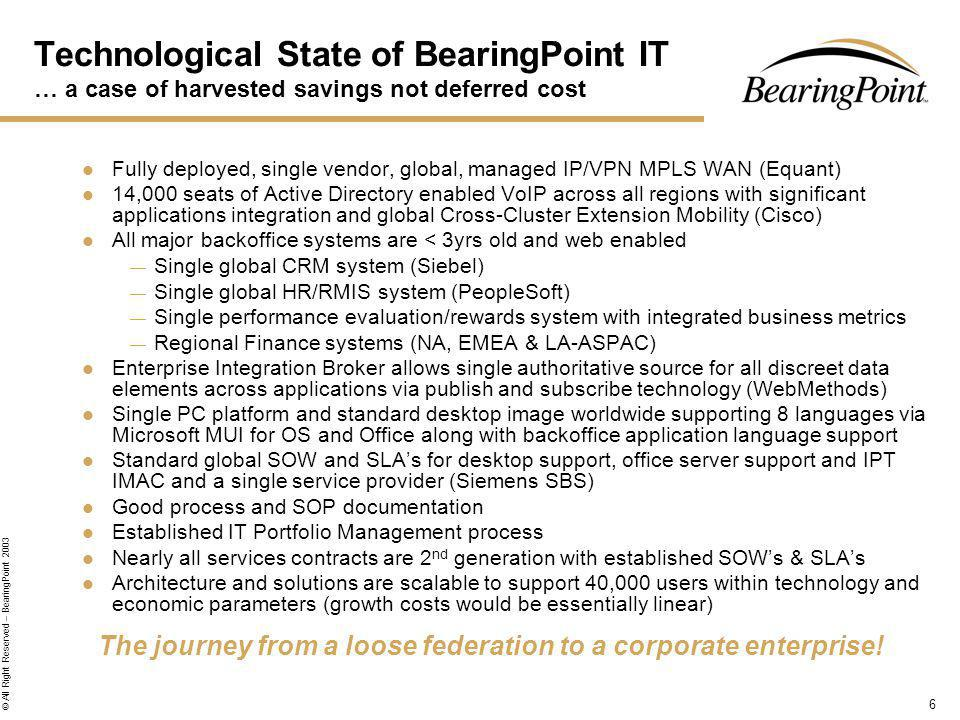 6 © All Right Reserved – BearingPoint 2003 Technological State of BearingPoint IT … a case of harvested savings not deferred cost Fully deployed, single vendor, global, managed IP/VPN MPLS WAN (Equant) 14,000 seats of Active Directory enabled VoIP across all regions with significant applications integration and global Cross-Cluster Extension Mobility (Cisco) All major backoffice systems are < 3yrs old and web enabled Single global CRM system (Siebel) Single global HR/RMIS system (PeopleSoft) Single performance evaluation/rewards system with integrated business metrics Regional Finance systems (NA, EMEA & LA-ASPAC) Enterprise Integration Broker allows single authoritative source for all discreet data elements across applications via publish and subscribe technology (WebMethods) Single PC platform and standard desktop image worldwide supporting 8 languages via Microsoft MUI for OS and Office along with backoffice application language support Standard global SOW and SLAs for desktop support, office server support and IPT IMAC and a single service provider (Siemens SBS) Good process and SOP documentation Established IT Portfolio Management process Nearly all services contracts are 2 nd generation with established SOWs & SLAs Architecture and solutions are scalable to support 40,000 users within technology and economic parameters (growth costs would be essentially linear) The journey from a loose federation to a corporate enterprise!