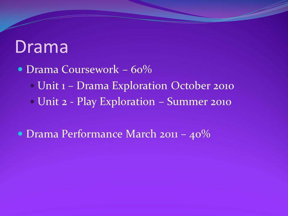 Drama Drama Coursework – 60% Unit 1 – Drama Exploration October 2010 Unit 2 - Play Exploration – Summer 2010 Drama Performance March 2011 – 40%