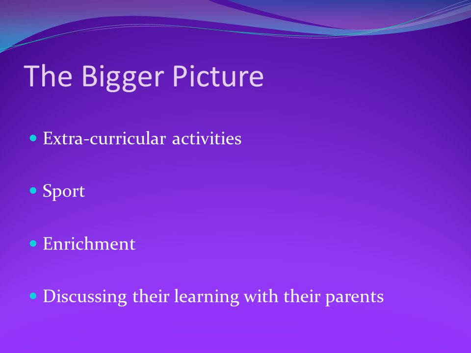 The Bigger Picture Extra-curricular activities Sport Enrichment Discussing their learning with their parents