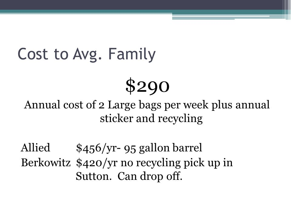 Cost to Avg. Family $290 Annual cost of 2 Large bags per week plus annual sticker and recycling Allied $456/yr- 95 gallon barrel Berkowitz $420/yr no
