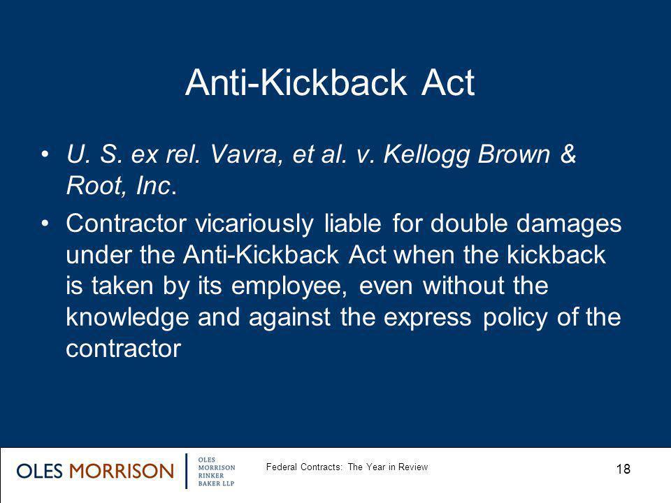 Anti-Kickback Act U. S. ex rel. Vavra, et al. v.