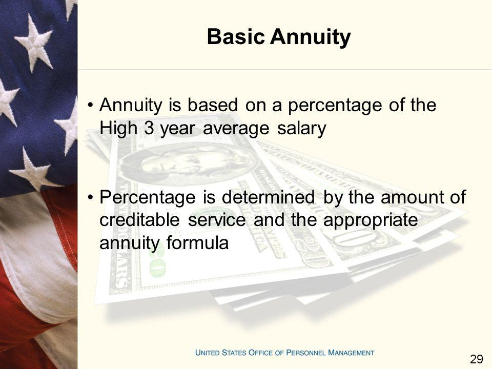 Basic Annuity Annuity is based on a percentage of the High 3 year average salary Percentage is determined by the amount of creditable service and the