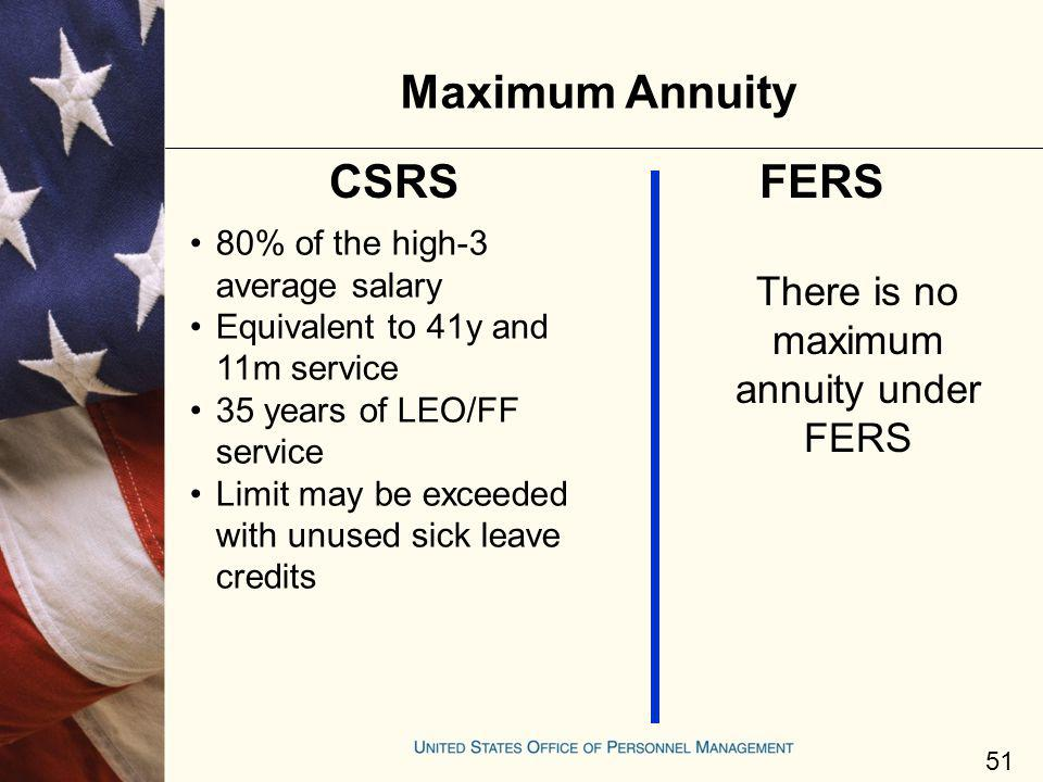 Maximum Annuity 80% of the high-3 average salary Equivalent to 41y and 11m service 35 years of LEO/FF service Limit may be exceeded with unused sick l