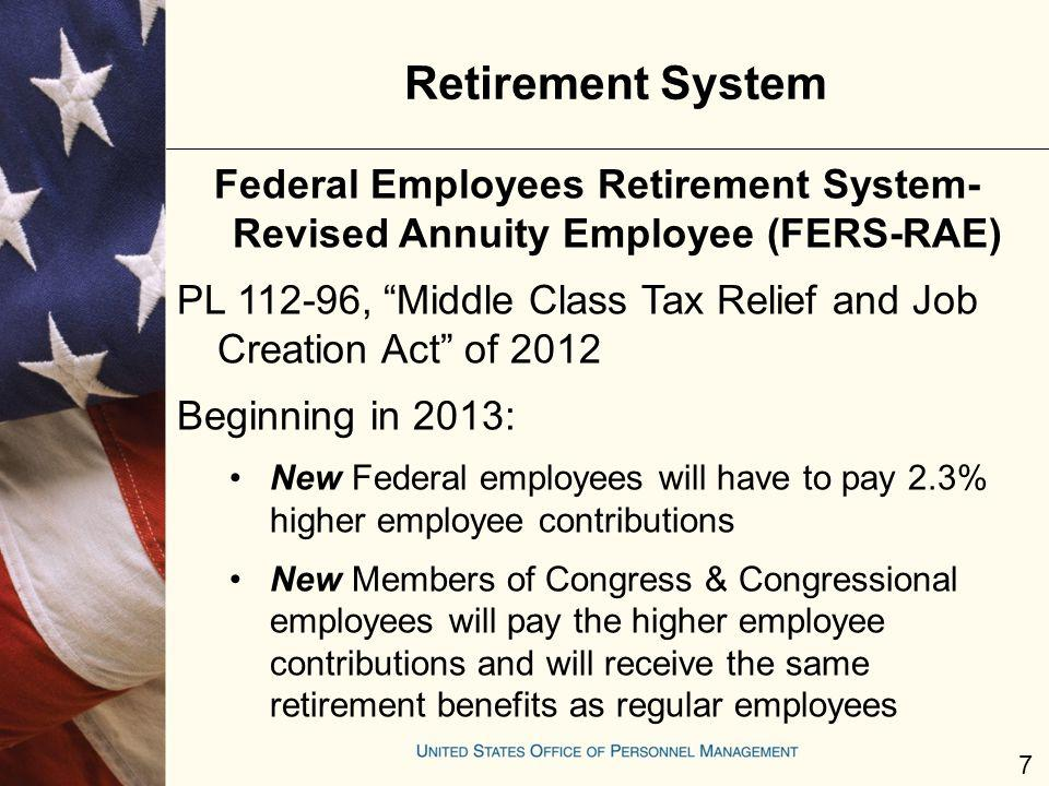 Retirement System Federal Employees Retirement System- Revised Annuity Employee (FERS-RAE) PL 112-96, Middle Class Tax Relief and Job Creation Act of