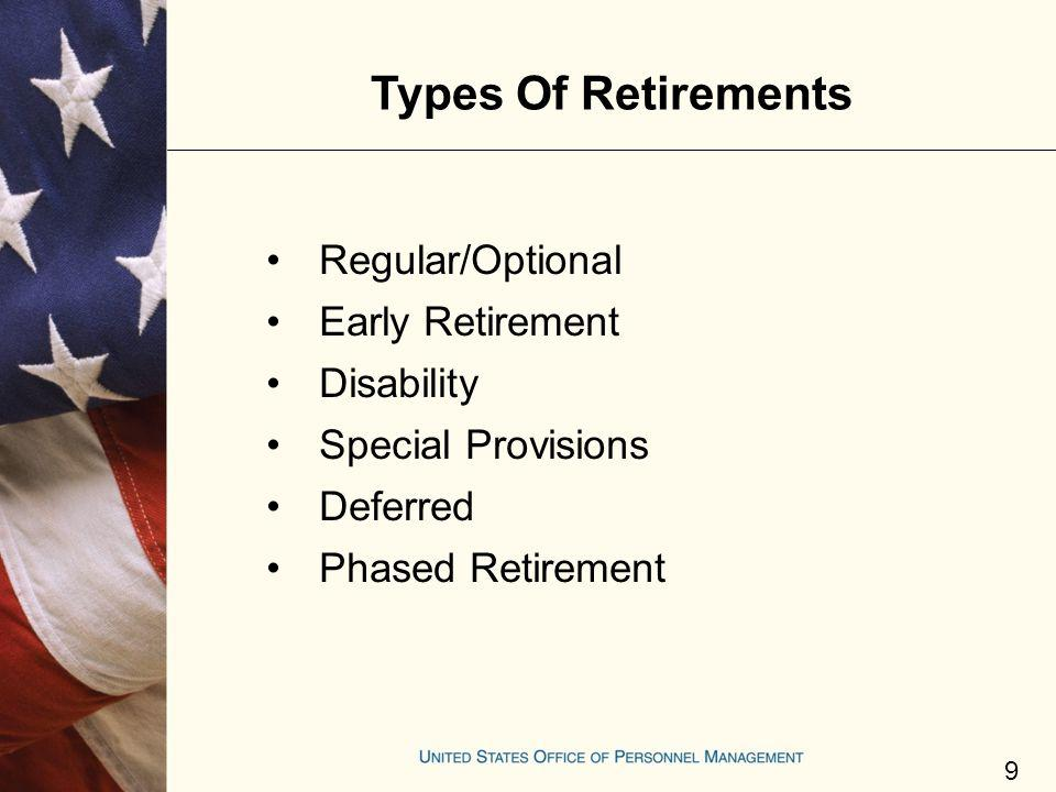Types Of Retirements Regular/Optional Early Retirement Disability Special Provisions Deferred Phased Retirement 9