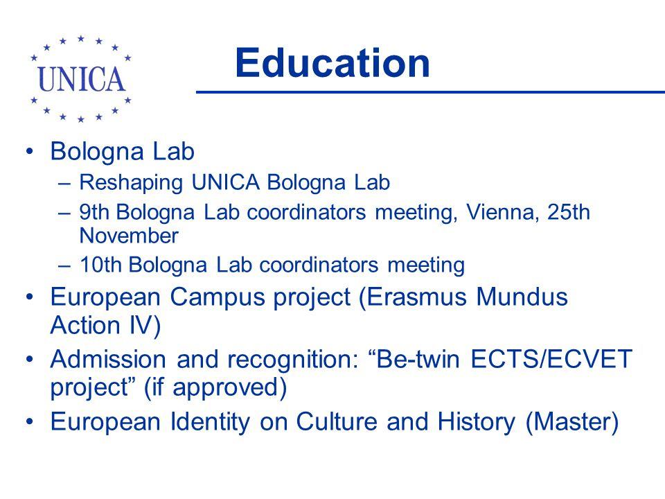 Education Bologna Lab –Reshaping UNICA Bologna Lab –9th Bologna Lab coordinators meeting, Vienna, 25th November –10th Bologna Lab coordinators meeting