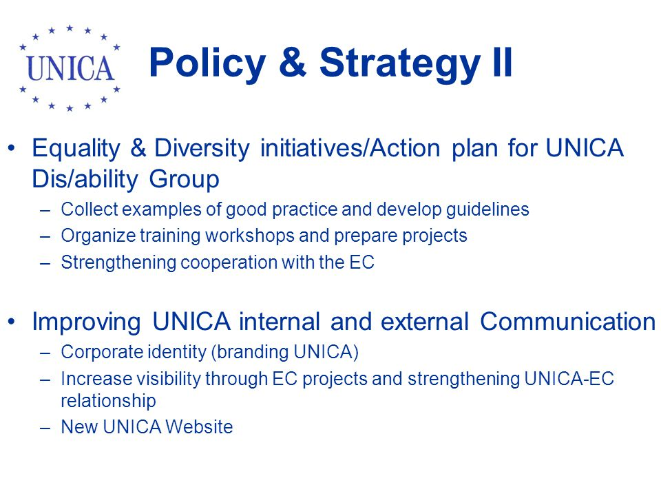 Policy & Strategy II Equality & Diversity initiatives/Action plan for UNICA Dis/ability Group –Collect examples of good practice and develop guidelines –Organize training workshops and prepare projects –Strengthening cooperation with the EC Improving UNICA internal and external Communication –Corporate identity (branding UNICA) –Increase visibility through EC projects and strengthening UNICA-EC relationship –New UNICA Website