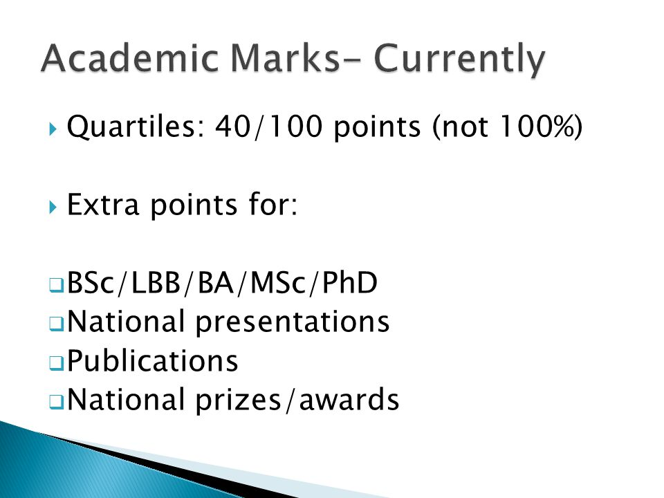 Currently at Bristol: ALL exam marks, except Molecular and Cellular Medicine from year 1 More weighting of year 3 and 4 marks Quartile points 1 st = 40 2 nd =38 3 rd = 36 4 th = 34