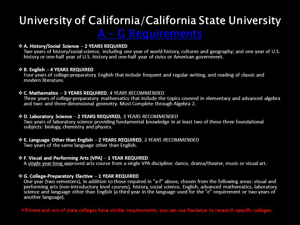 University of California/California State University A – G Requirements A – G Requirements A – G Requirements A.