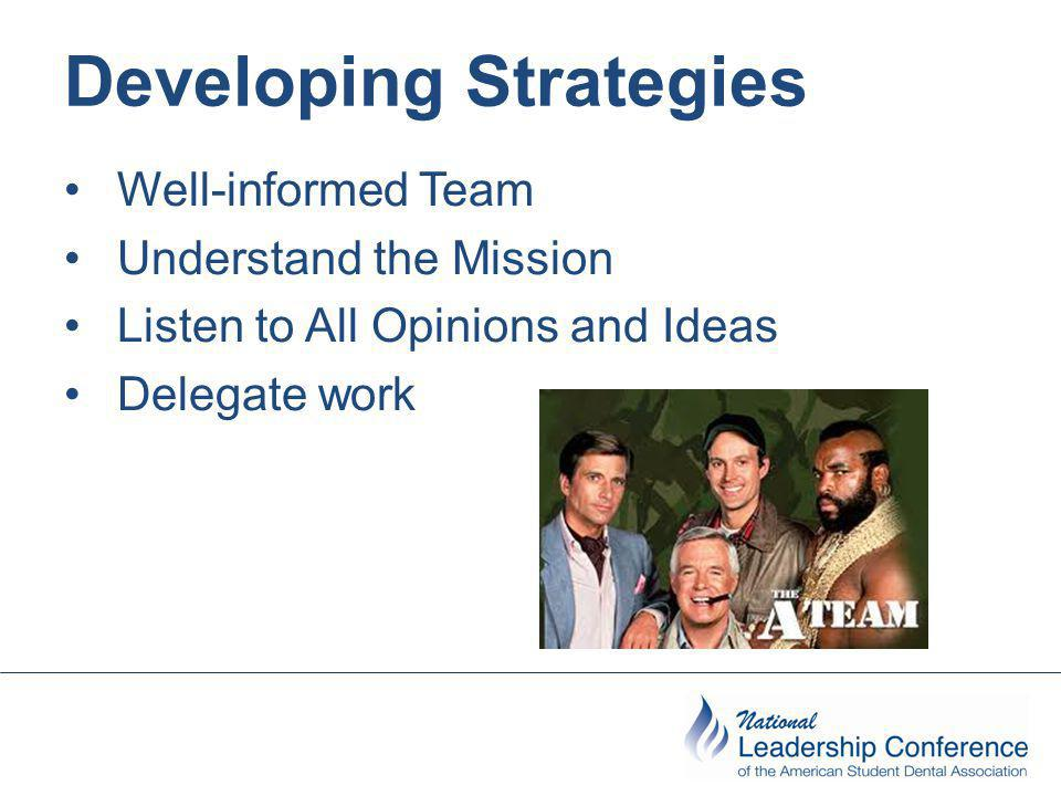 Developing Strategies Well-informed Team Understand the Mission Listen to All Opinions and Ideas Delegate work