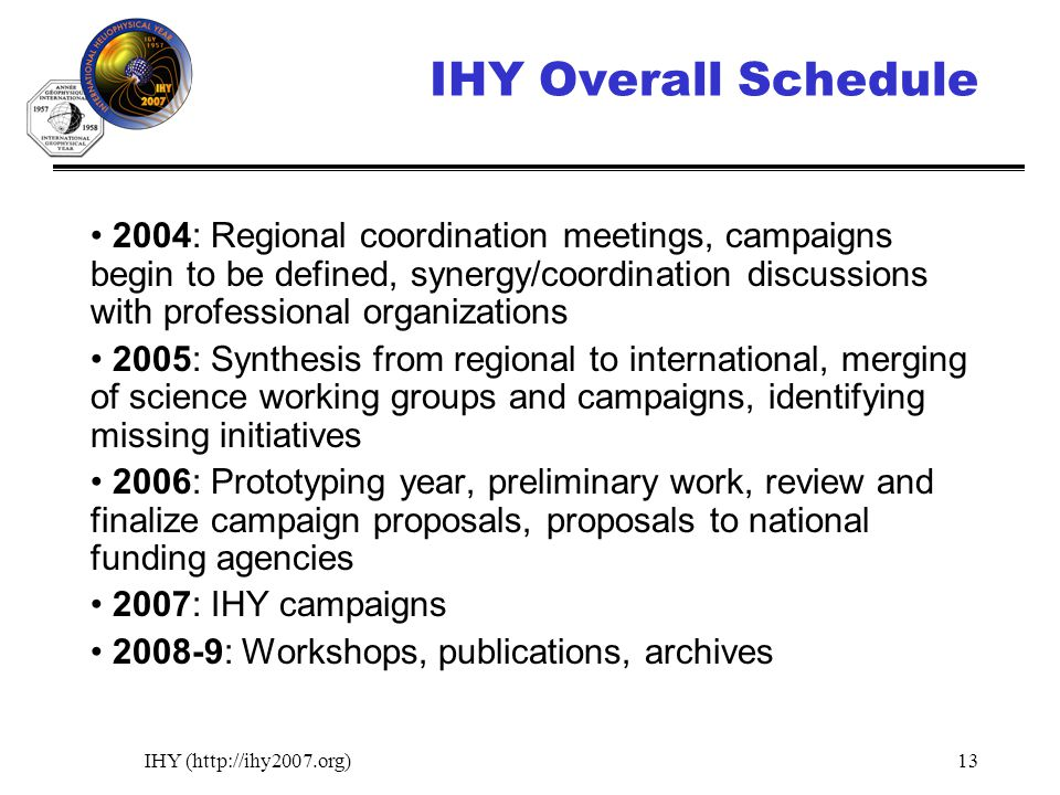 IHY (http://ihy2007.org)13 IHY Overall Schedule 2004: Regional coordination meetings, campaigns begin to be defined, synergy/coordination discussions
