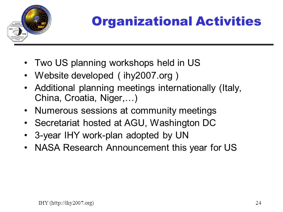 IHY (http://ihy2007.org)24 Organizational Activities Two US planning workshops held in US Website developed ( ihy2007.org ) Additional planning meetings internationally (Italy, China, Croatia, Niger,…) Numerous sessions at community meetings Secretariat hosted at AGU, Washington DC 3-year IHY work-plan adopted by UN NASA Research Announcement this year for US