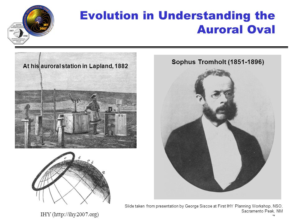 IHY (http://ihy2007.org)4 Evolution in Understanding the Auroral Oval Sophus Tromholt (1851-1896) At his auroral station in Lapland, 1882 Slide taken from presentation by George Siscoe at First IHY Planning Workshop, NSO, Sacramento Peak, NM
