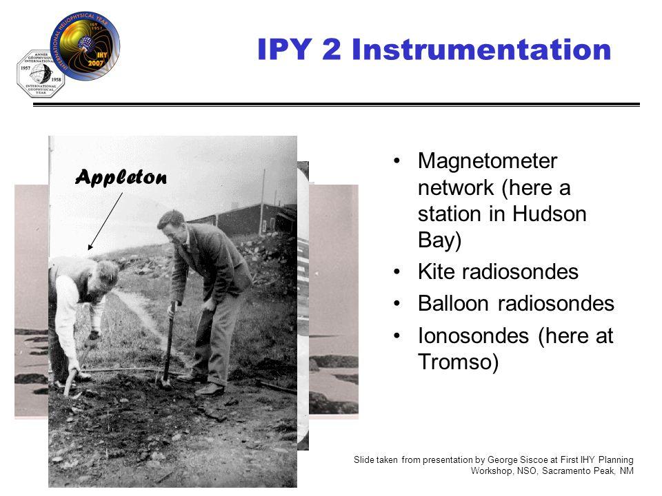IHY (http://ihy2007.org)7 IPY 2 Instrumentation Magnetometer network (here a station in Hudson Bay) Kite radiosondes Balloon radiosondes Ionosondes (here at Tromso) University of Saskatchewan Archives Appleton Slide taken from presentation by George Siscoe at First IHY Planning Workshop, NSO, Sacramento Peak, NM