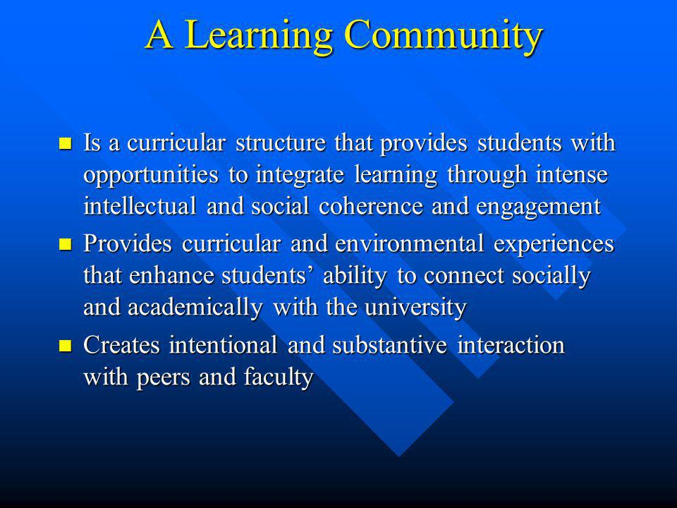 A Learning Community Is a curricular structure that provides students with opportunities to integrate learning through intense intellectual and social