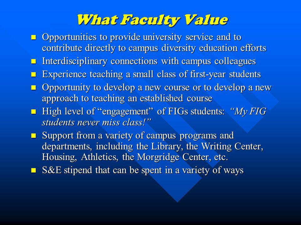 What Faculty Value Opportunities to provide university service and to contribute directly to campus diversity education efforts Opportunities to provi