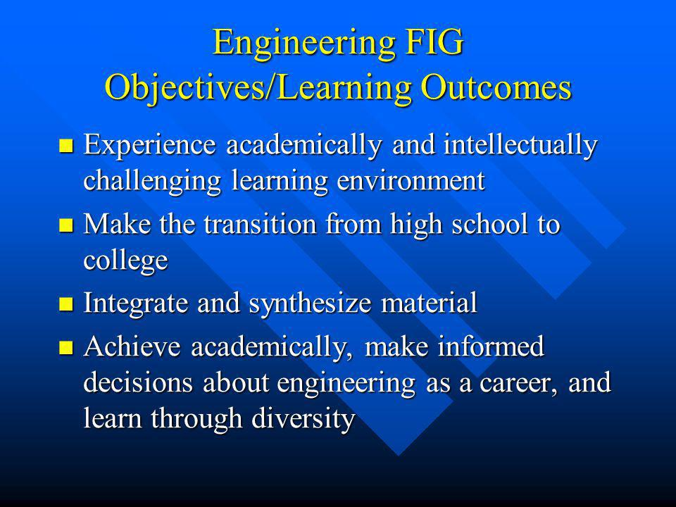 Engineering FIG Objectives/Learning Outcomes Experience academically and intellectually challenging learning environment Experience academically and i