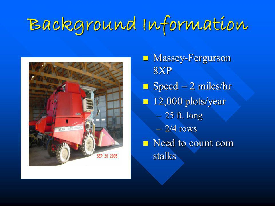Background Information Massey-Fergurson 8XP Speed – 2 miles/hr 12,000 plots/year –25 ft. long –2/4 rows Need to count corn stalks