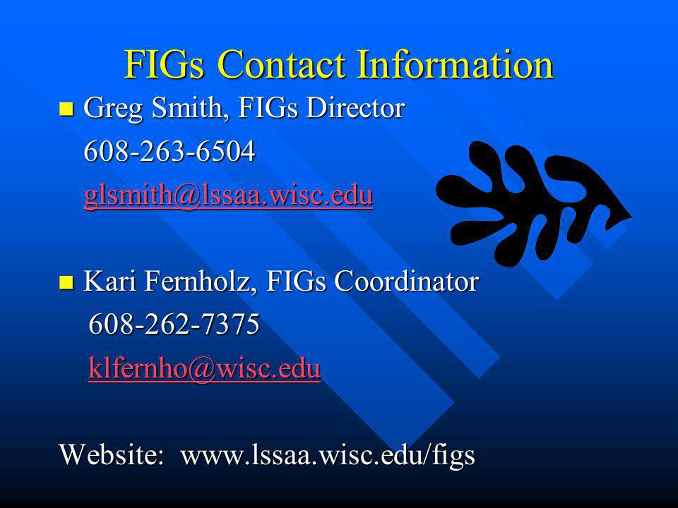 FIGs Contact Information Greg Smith, FIGs Director Greg Smith, FIGs Director608-263-6504 glsmith@lssaa.wisc.edu Kari Fernholz, FIGs Coordinator Kari F