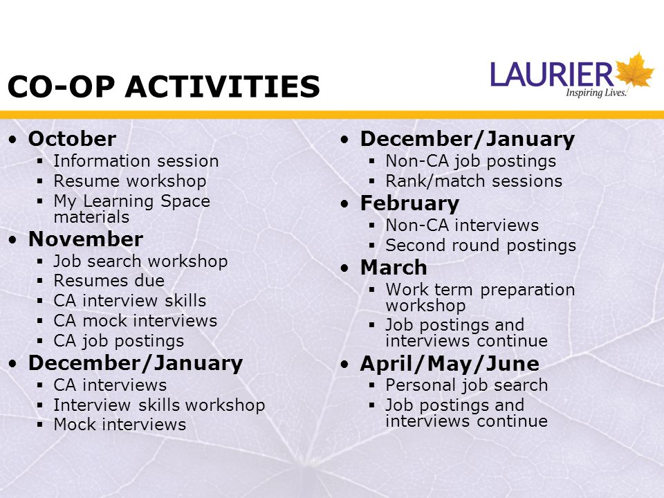 CO-OP ACTIVITIES October Information session Resume workshop My Learning Space materials November Job search workshop Resumes due CA interview skills