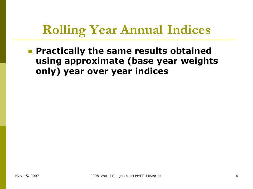 May 15, 20072008 World Congress on NAEP Measrues6 Rolling Year Annual Indices Practically the same results obtained using approximate (base year weights only) year over year indices