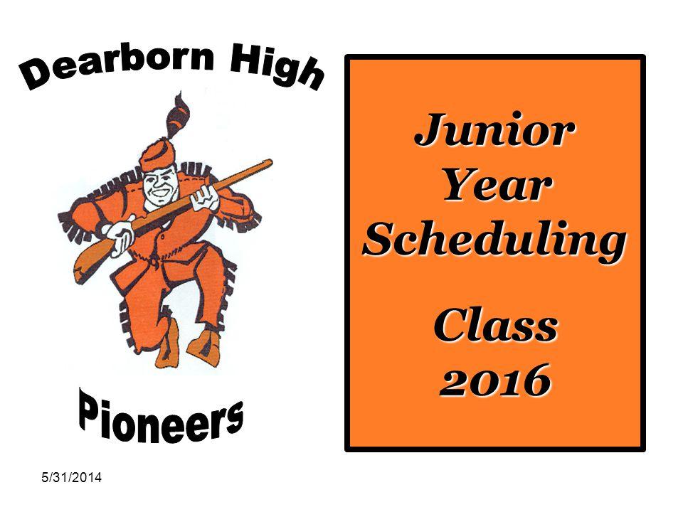 5/31/2014 Junior Year Scheduling Class 2016