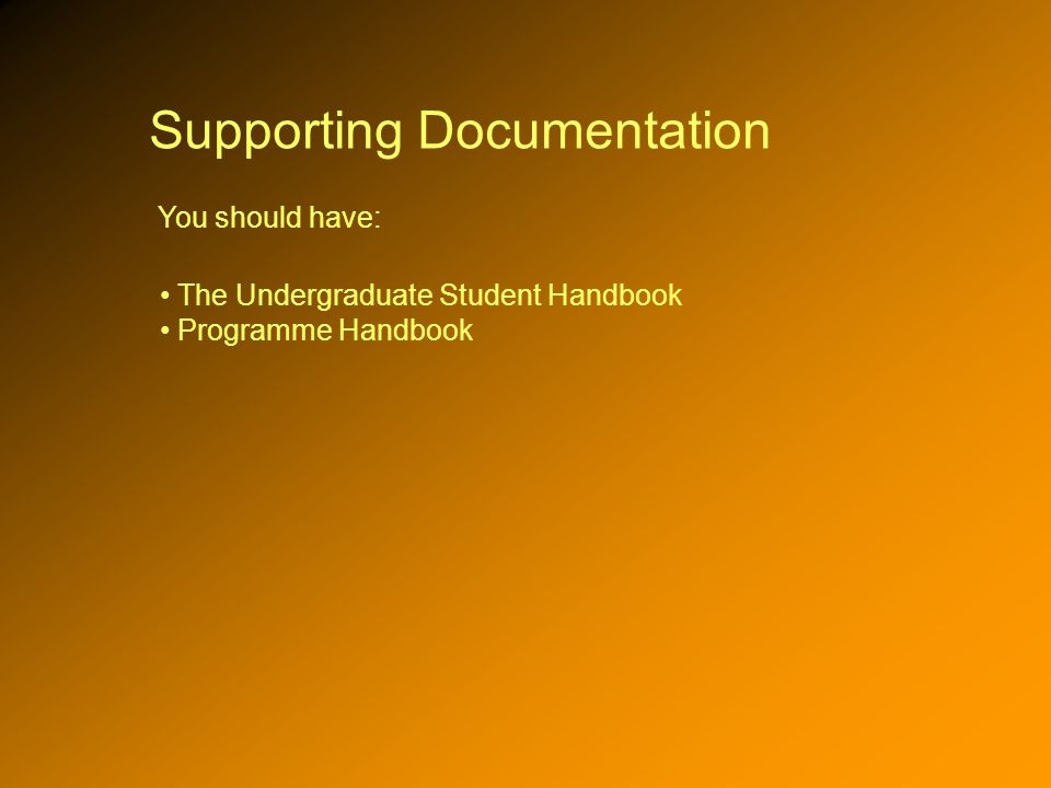 Supporting Documentation You should have: The Undergraduate Student Handbook Programme Handbook