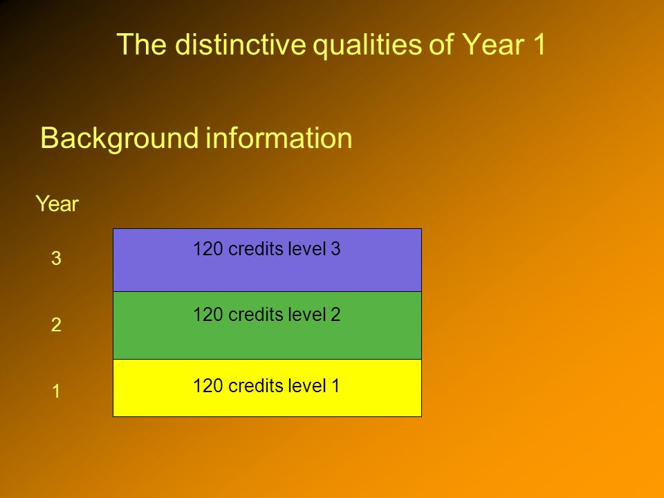 The distinctive qualities of Year 1 Background information 120 credits level 1 120 credits level 2 120 credits level 3 3 2 1 Year