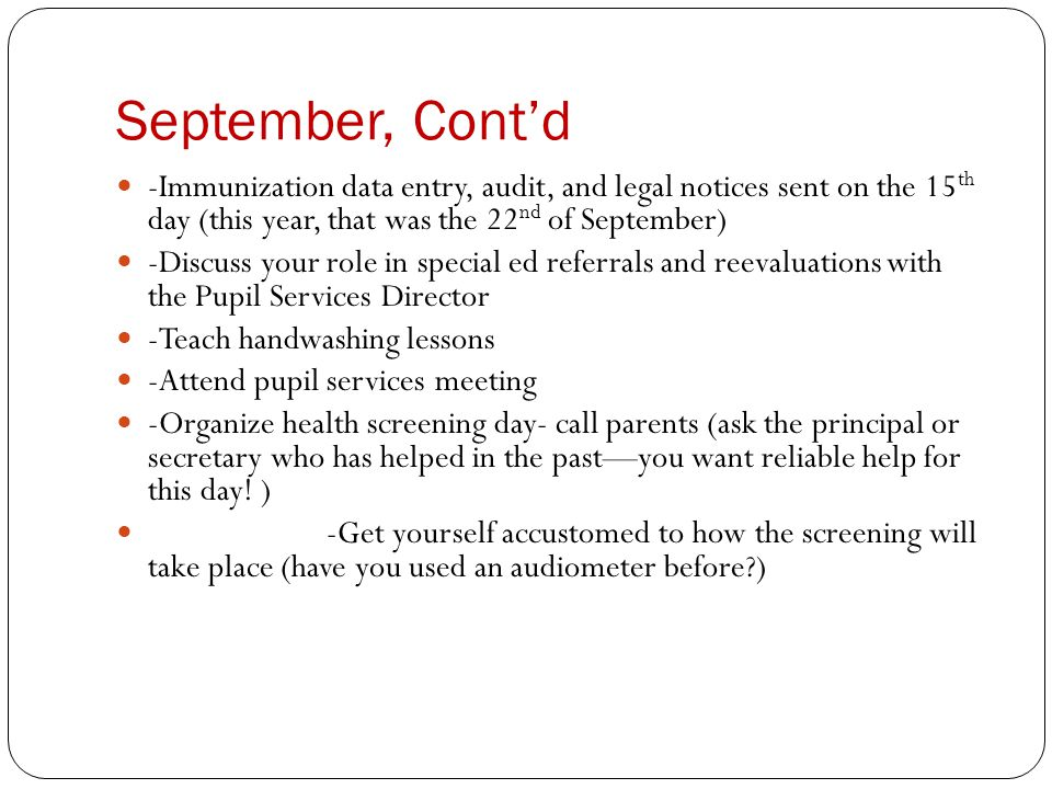 September, Contd -You may want to try students if there is a university near you.
