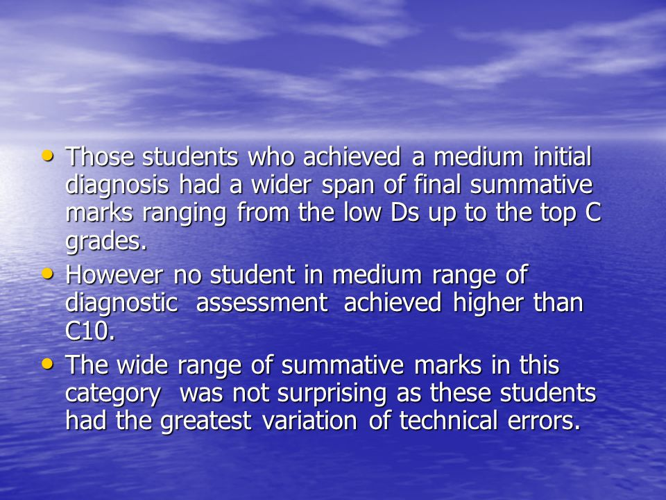 Those students who achieved a medium initial diagnosis had a wider span of final summative marks ranging from the low Ds up to the top C grades.