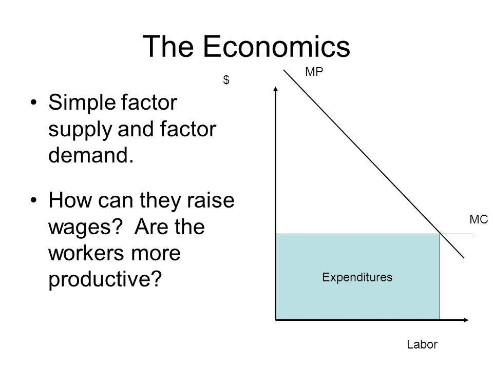 Expenditures The Economics Simple factor supply and factor demand. Labor $ MP MC How can they raise wages? Are the workers more productive?