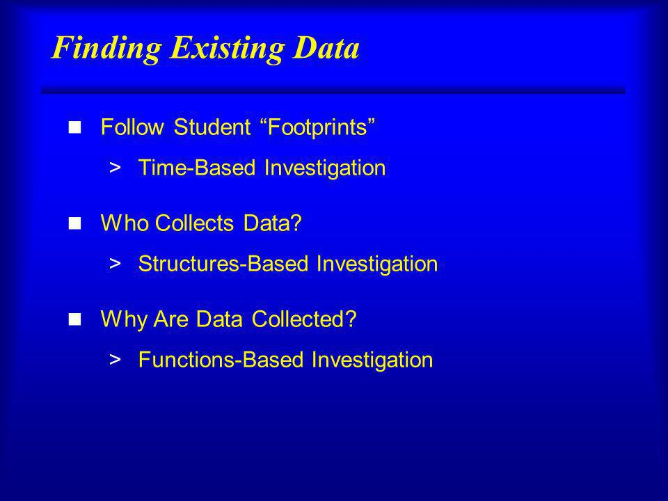 Finding Existing Data n Follow Student Footprints >Time-Based Investigation n Who Collects Data.